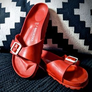 NWOT: Bright Red Birkenstock Sandles